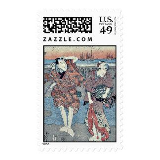 Recogida de seashells por Utagawa, Toyokuni Sello