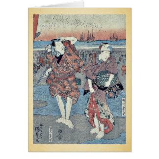 Recogida de seashells por Utagawa, Toyokuni Felicitaciones