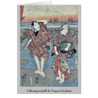 Recogida de seashells por Utagawa, Toyokuni Felicitación