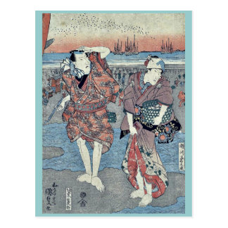 Recogida de seashells por Utagawa, Toyokuni Postales