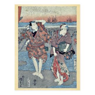 Recogida de seashells por Utagawa, Toyokuni Postal