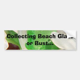 Recogida del vidrio de la playa o de la pegatina p etiqueta de parachoque