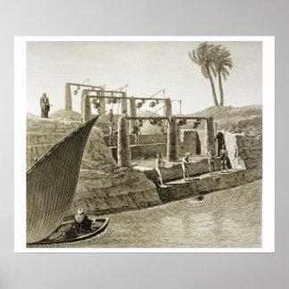Recogiendo el agua del Nilo, platee 6 de Volum Póster