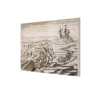 Recogiendo el driftwood para la cabina en la cual  impresión en lienzo estirada