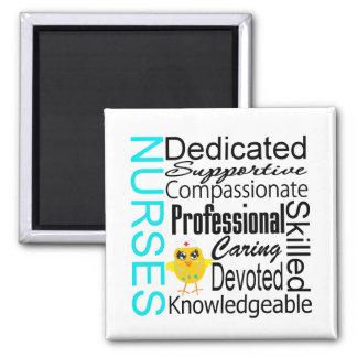 Recognize a Nurse:  Nurses Recognition Collage 2 Inch Square Magnet