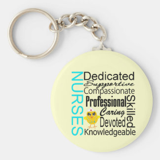 Recognize a Nurse:  Nurses Recognition Collage Basic Round Button Keychain
