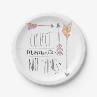 Recoja el cambio de los momentos el | su color de plato de papel de 7 pulgadas