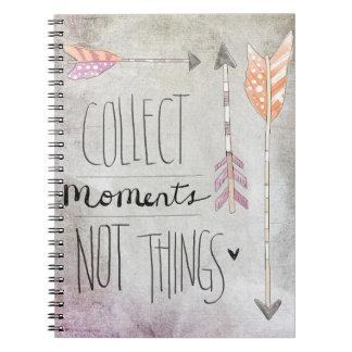 Recoja las cosas de los momentos no libretas espirales
