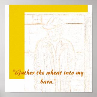 Recolecte la impresión del poster del trigo