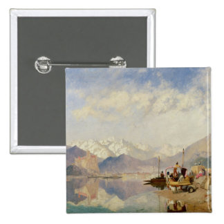 Recollections of the Lago Maggiore, Market Day at 2 Inch Square Button
