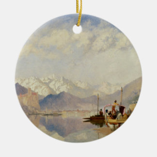 Recollections of the Lago Maggiore, Market Day at Double-Sided Ceramic Round Christmas Ornament