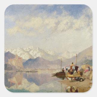 Recollections of the Lago Maggiore, Market Day at Square Sticker