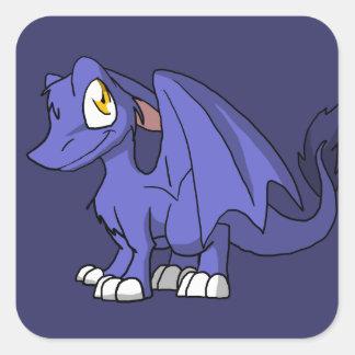 Recolorable SD Furry Dragon w/ Any Dark Color Back Square Sticker