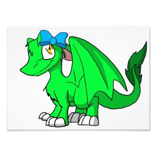Recolourable SD Furry Dragon w/ Blue Hairbow Photo Print
