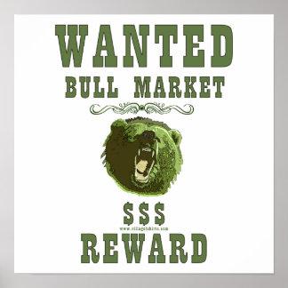 Recompensa del mercado alcista póster