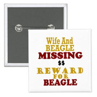 Recompensa que falta de la esposa y del beagle por pins