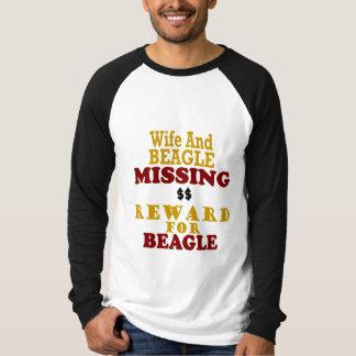 Recompensa que falta de la esposa y del beagle por playera
