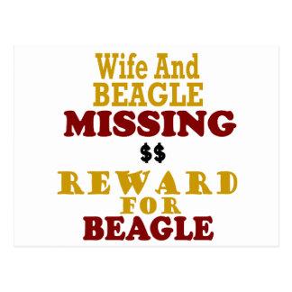 Recompensa que falta de la esposa y del beagle por postal