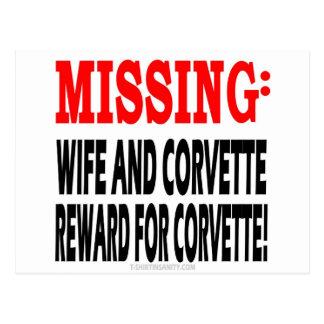 Recompensa que falta de la esposa y del Corvette p Tarjeta Postal