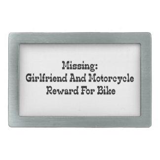 Recompensa que falta de la novia y de la motocicle