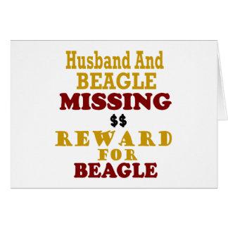 Recompensa que falta del beagle y del marido por b tarjeta de felicitación