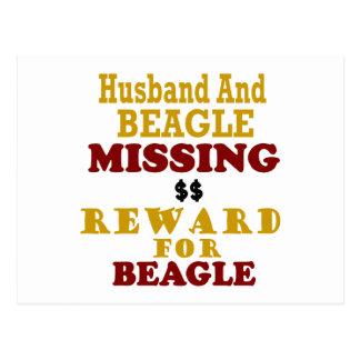 Recompensa que falta del beagle y del marido por b tarjeta postal
