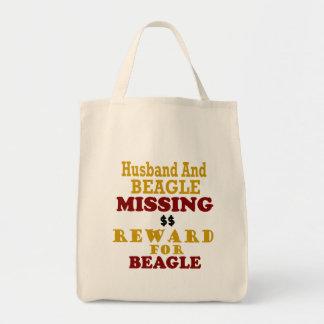 Recompensa que falta del beagle y del marido por bolsa tela para la compra