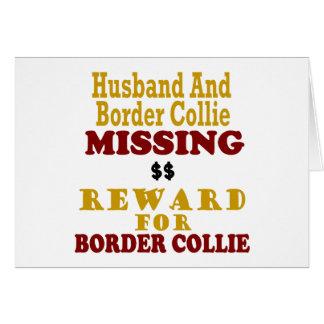 Recompensa que falta del border collie y del marid tarjeta de felicitación