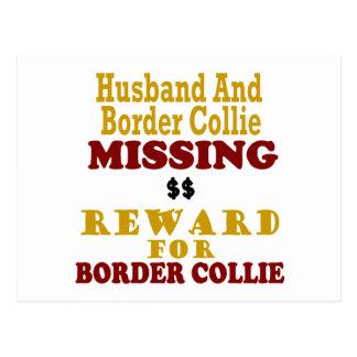 Recompensa que falta del border collie y del marid tarjetas postales