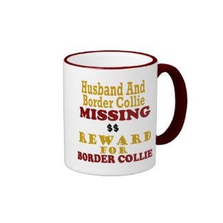 Recompensa que falta del border collie y del marid taza a dos colores