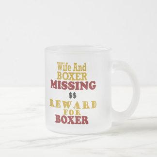 Recompensa que falta del boxeador y de la esposa taza de cristal
