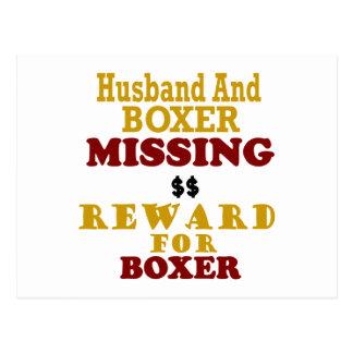 Recompensa que falta del boxeador y del marido por postales