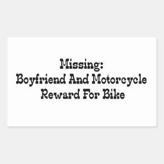 Recompensa que falta del novio y de la motocicleta pegatina rectangular