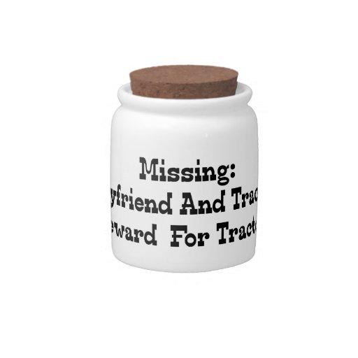 Recompensa que falta del novio y del tractor por t jarra para caramelo