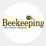 recompensas del dulce de la apicultura pegatina redonda