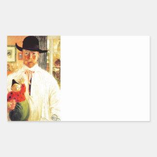 Reconocimiento del uno mismo de Carl Larsson Pegatina Rectangular