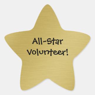 Reconocimiento del voluntario de la estrella del pegatina en forma de estrella
