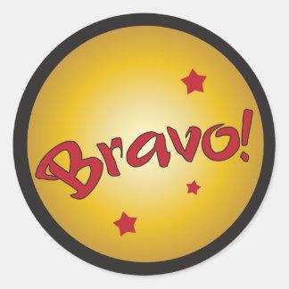 Reconocimiento y aprecio del BRAVO Pegatina Redonda