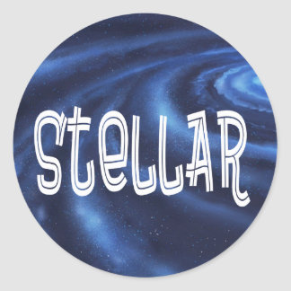 Reconocimiento y aprecio estelares pegatina redonda