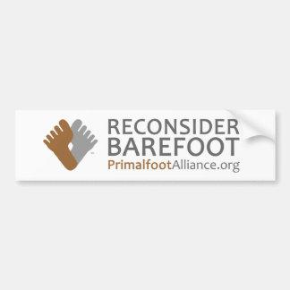 """Reconsidere descalzo"" a la pegatina para el parac Etiqueta De Parachoque"