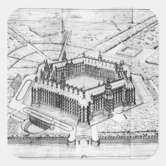 Reconstrucción de la abadía de Theleme Calcomanías Cuadradas Personalizadas
