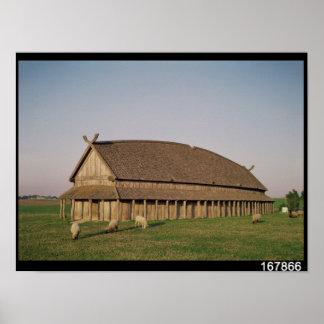 Reconstrucción de una casa del siglo XI de Viking Póster