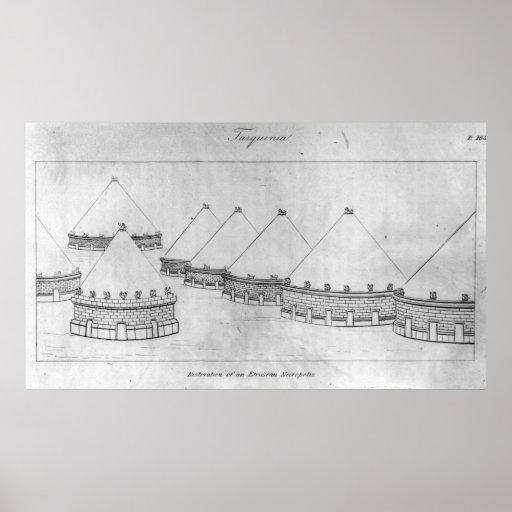 Reconstrucción de una necrópolis de Etruscan Póster