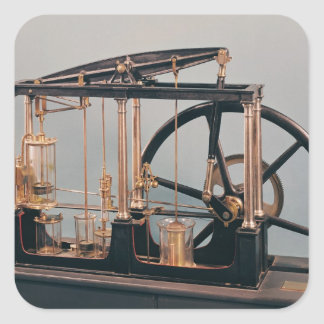 Reconstrucción del motor del vapor de James Watt Pegatina Cuadrada