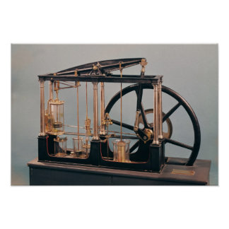 Reconstrucción del motor del vapor de James Watt Póster