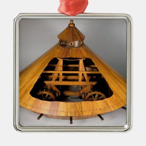 Reconstrucción modelo del diseño de da Vinci Adorno Navideño Cuadrado De Metal