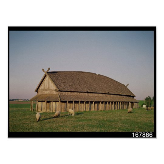 Reconstruction of an 11th century Viking house Poster