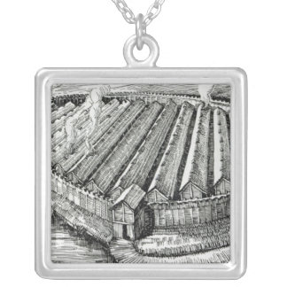 Reconstruction of an Iron Age village at Biskupin Square Pendant Necklace