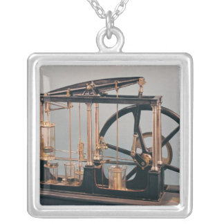 Reconstruction of James Watt's steam engine Silver Plated Necklace