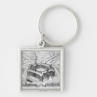 Reconstruction of Theleme Abbey Silver-Colored Square Keychain